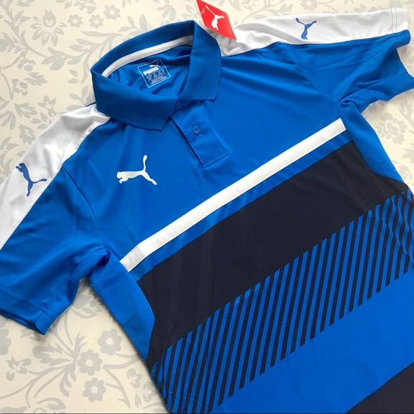 66dc7eed8c4 Puma men NEW Veloce blue stripe polo shirt drycell